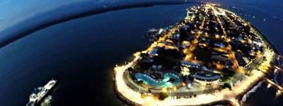 Puntarenas Banner Arial at Night