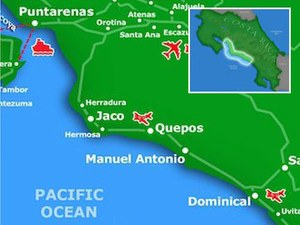 Central Pacific region of Costa Rica mapa detallado