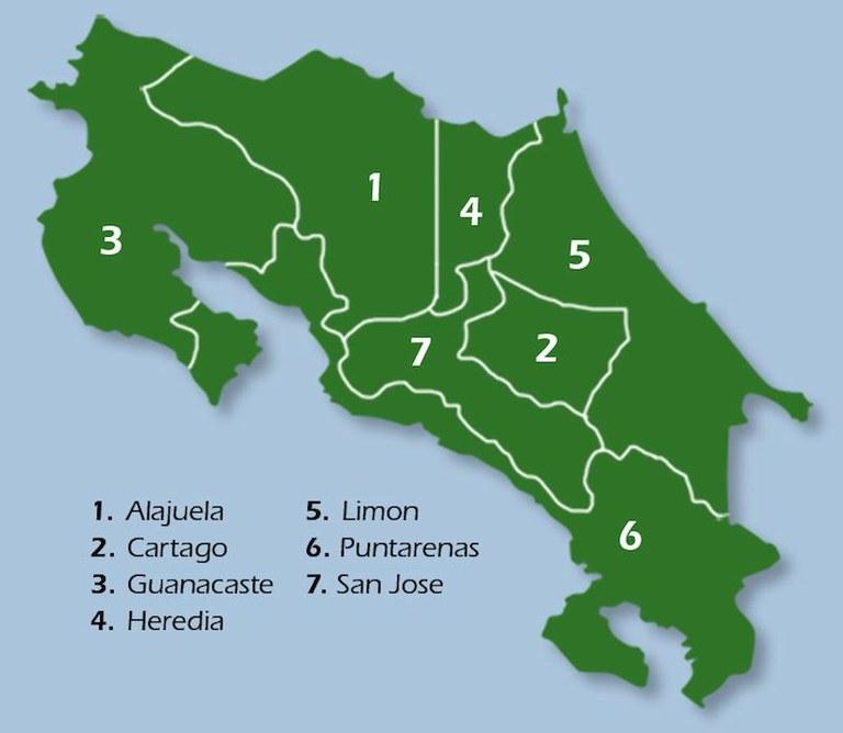 Mapa de provincias en Costa Rica