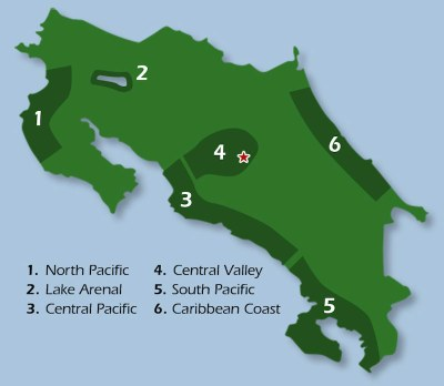 Map of Costa Rica's most popular real estate regions.
