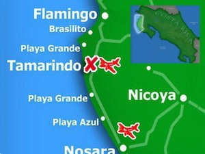 Playas del Coco in the North Pacific region of Costa Rica detail map