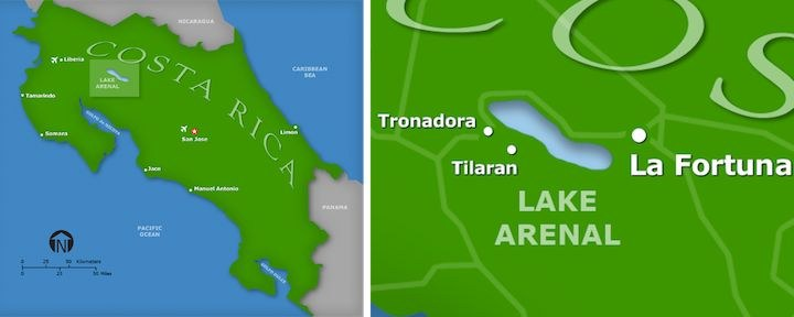 The Lake Arenal region of Costa Rica detail map
