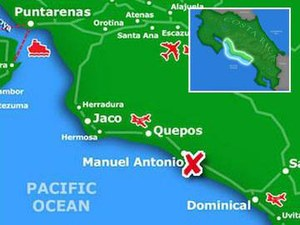 Detailed map of Manuel Antonio in the Central Pacific region of Costa Rica