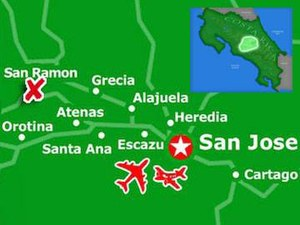 Detailed map of San Ramon in the Central Valley region of Costa Rica