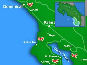 Región del Pacífico Sur de Costa Rica mapa detallado
