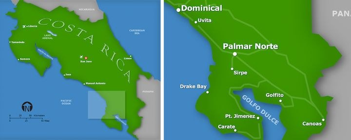 The South Pacific region of Costa Rica detail map