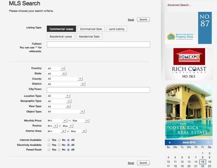 MLS Search interface