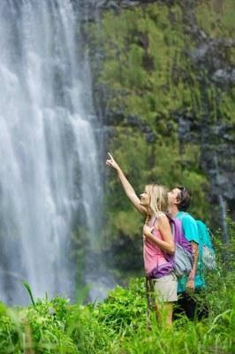 Nature Hike Waterfall photodune 8493303 couple hiking to waterfall m